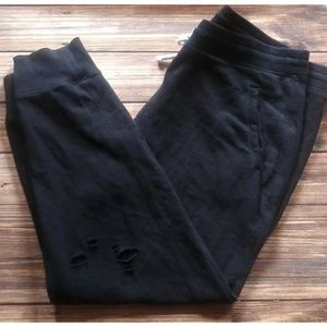 Size XL A&F Black Distressed Joggers